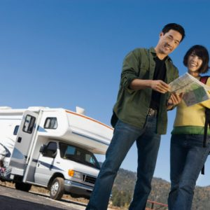 Couple on a Road Trip with a well maintained RV photo